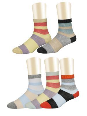 Носки, 5 пар Glamuriki. Цвет: черный, голубой, желтый