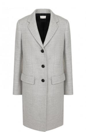 Однотонное шерстяное пальто The Row. Цвет: светло-серый