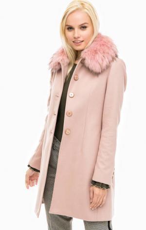 Розовое пальто с меховой отделкой Kocca. Цвет: розовый