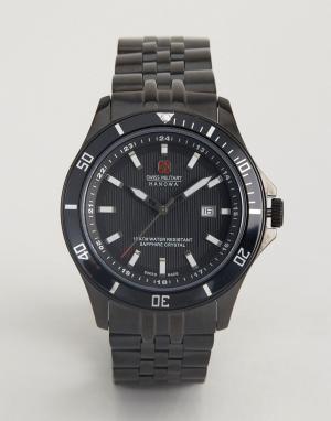Swiss Military Черные часы с индикацией даты Flagship Mens. Цвет: черный