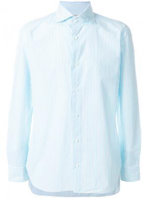 Приталенная полосатая рубашка Borrelli. Цвет: синий