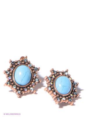 Серьги Jenavi. Цвет: голубой, бронзовый