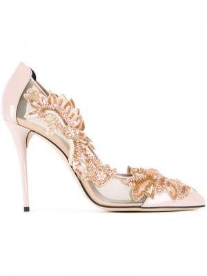Туфли-лодочки с цветочными украшениями и прозрачными панелями Oscar de la Renta. Цвет: розовый и фиолетовый