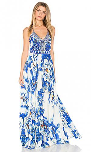 Плиссированное свободное платье Camilla. Цвет: синий