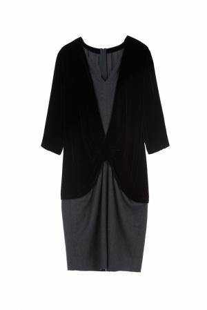 Платье из шерсти и хлопка Louis Feraud Vintage. Цвет: черный