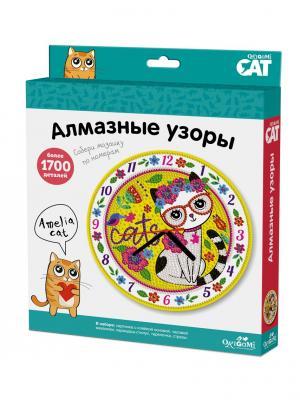 Origami Cat. Мозаика. Алмазные узоры. Часы Amelia Cat. Цвет: красный, белый, желтый