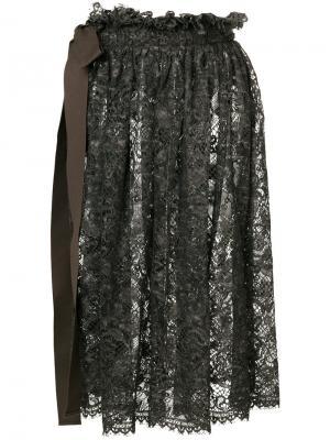 Кружевная юбка миди Uma Wang. Цвет: коричневый