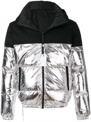 Куртка дизайна колор-блок Lc23. Цвет: металлический