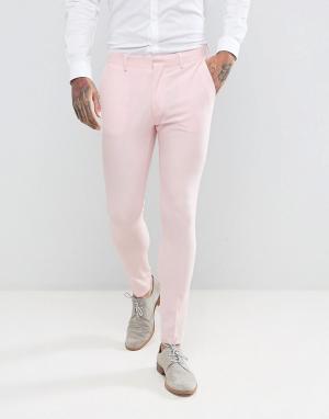 ASOS Бледно-розовые супероблегающие брюки Wedding. Цвет: розовый