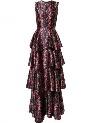 Вечернее многоярусное платье Huishan Zhang. Цвет: чёрный