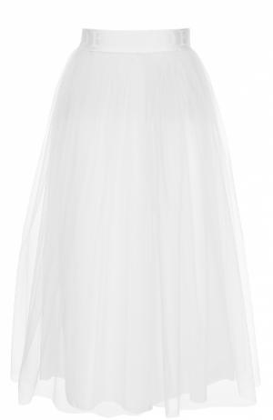 Многоярусная пышная юбка-миди с широким поясом Deha. Цвет: белый