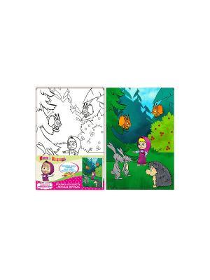 Роспись по холсту Лесные друзья Маша и медведь. Цвет: зеленый, розовый, синий