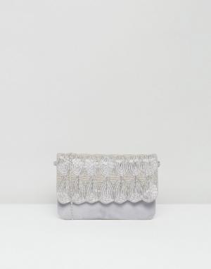 Park Lane Замшевая сумка‑клатч с декоративной отделкой и съемным ремешком L. Цвет: серый
