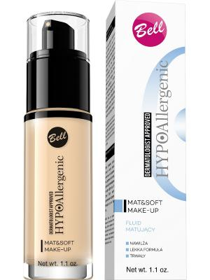 Флюид матирующий гипоаллергенный Bell Hypoallergenic Mat&soft Make-up,Тон 02. Цвет: бежевый