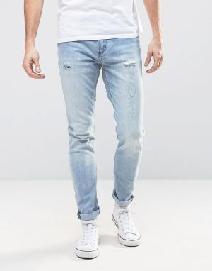Rollas Синие выбеленные узкие джинсы с заплатками Thin Captain. Цвет: синий