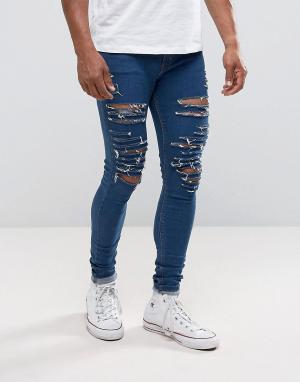 Criminal Damage Обтягивающие джинсы с рваной отделкой. Цвет: синий
