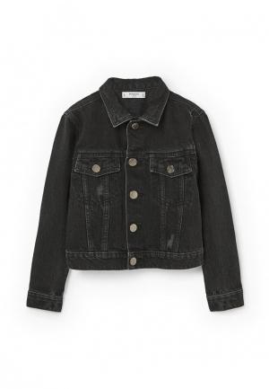 Куртка джинсовая Mango Kids. Цвет: черный
