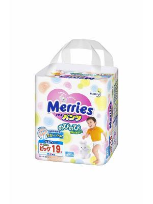 Трусики-подгузники для детей  большие 12-22кг, 19шт MERRIES. Цвет: белый