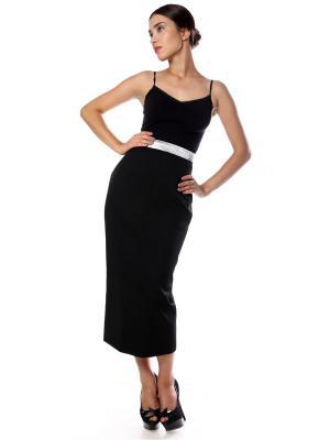 Юбка из черной костюмной ткани стрейч на широкой черно-серебряной резинке, миди SEANNA