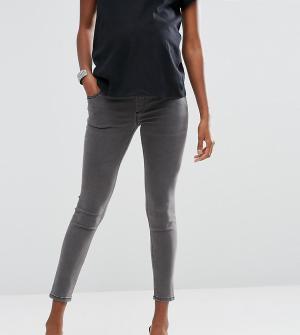 ASOS Maternity Зауженные джинсы для беременных с посадкой под животиком Maternit. Цвет: серый