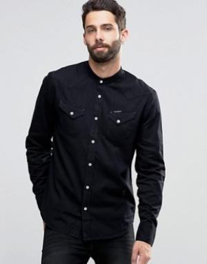 Religion Джинсовая рубашка с воротником на пуговицах. Цвет: черный