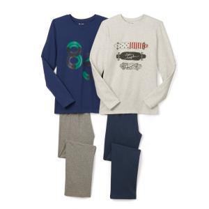 2 пижамы с принтом 10-16 лет La Redoute Collections. Цвет: синий/светло-серый меланж