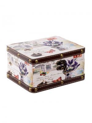 Шкатулка Лаванда 19х15х10,5 см Jia Cheng. Цвет: темно-фиолетовый, кремовый