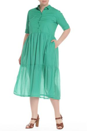 Длинное платье-рубашка с короткими рукавами EUROPEAN CULTURE. Цвет: зеленый