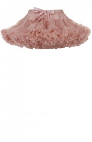 Многоярусная пышная мини-юбка Angel's Face. Цвет: бежевый