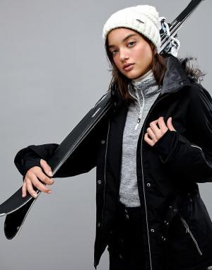 Killtec Лыжная куртка с поясом и съемным капюшоном. Цвет: черный