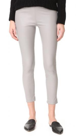 Кожаные брюки ThePerfext. Цвет: серый меланж