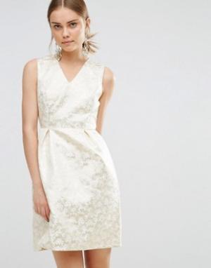 Uttam Boutique Жаккардовое платье. Цвет: золотой