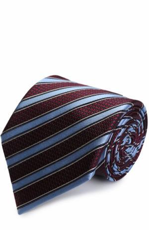 Шелковый галстук в полоску Ermenegildo Zegna. Цвет: бордовый