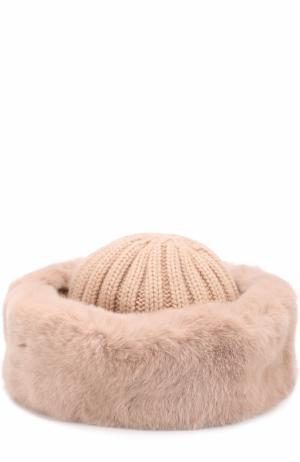 Вязаная шапка из шерсти с меховой отделкой Nima. Цвет: светло-розовый