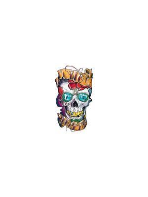 Временная переводная татуировка Череп МнеТату. Цвет: голубой, сиреневый, фиолетовый, красный, желтый, черный, синий, зеленый, морская волна