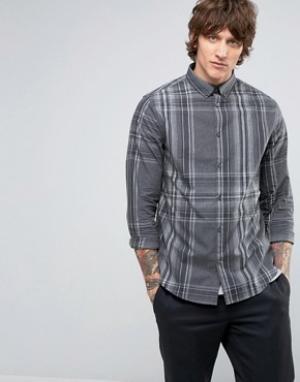 Hoxton Shirt Company Клетчатая рубашка узкого кроя в строгом стиле. Цвет: серый
