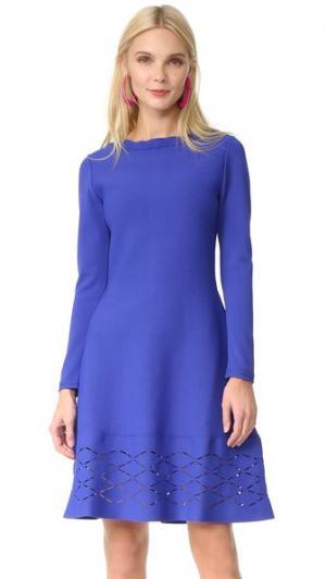 Платье с широкой юбкой Lela Rose. Цвет: ляпис-лазурит