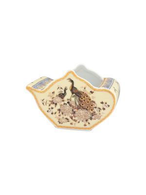 Подставка  для чайных пакетиков Павлин на бежевом Elan Gallery. Цвет: бежевый, золотистый, коричневый
