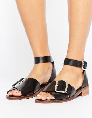 Hudson London Кожаные сандалии на плоской подошве с пряжкой H by. Цвет: черный