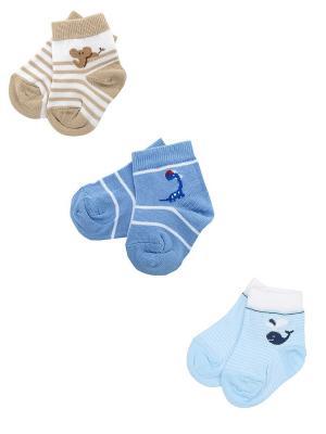 Носки детские, комплект 3шт. Skinija. Цвет: голубой, бежевый