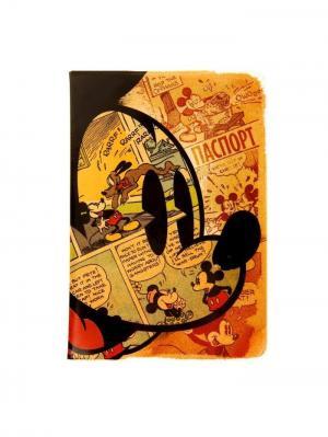 Обложка для паспорта Mickey Mouse, Микки Маус Disney. Цвет: хаки, красный, горчичный, кремовый
