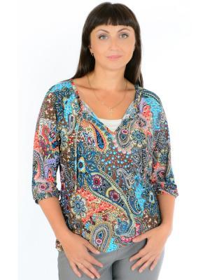 Блуза с рукавом реглан Восток дизайн №2 Ням-Ням. Цвет: лазурный, коричневый, голубой, молочный, оранжевый
