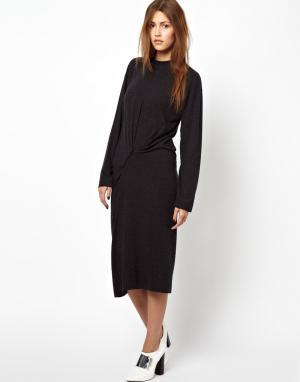Платье на липучке с длинными рукавами BACK by Ann-Sofie Ann Sofie. Цвет: черный