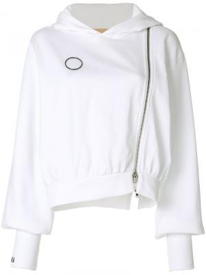 Asymmetric zipped hoodie Ssheena. Цвет: белый