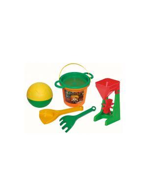 Набор для песка Тигренок с мельницей и мячом 6 эл. ТИГРЕС. Цвет: желтый, зеленый, красный