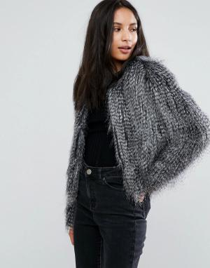 Urbancode Куртка с искусственными перьями. Цвет: серый