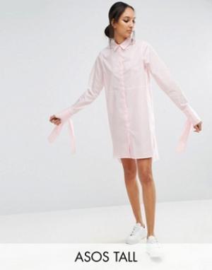 ASOS Tall Хлопковое платье-рубашка с большими манжетами и бантиками. Цвет: розовый