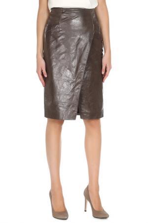 Кожаная юбка с запахом ALICE STREET. Цвет: коричнево-серый