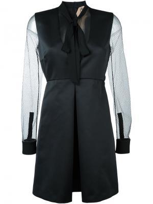 Приталенное платье с сетчатыми рукавами Nº21. Цвет: чёрный