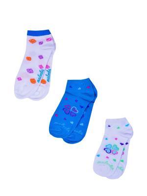 Носки женские,комплект 3шт Malerba. Цвет: голубой, белый